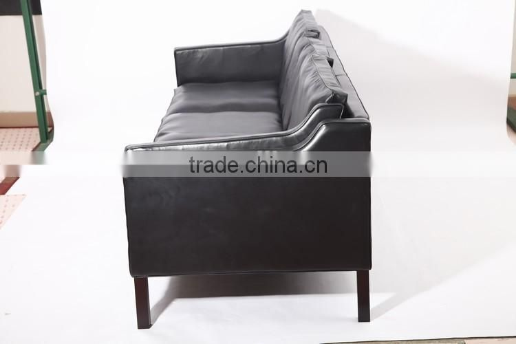 3 seater black genuine leather european style recliner sofa borge mogensen sofa
