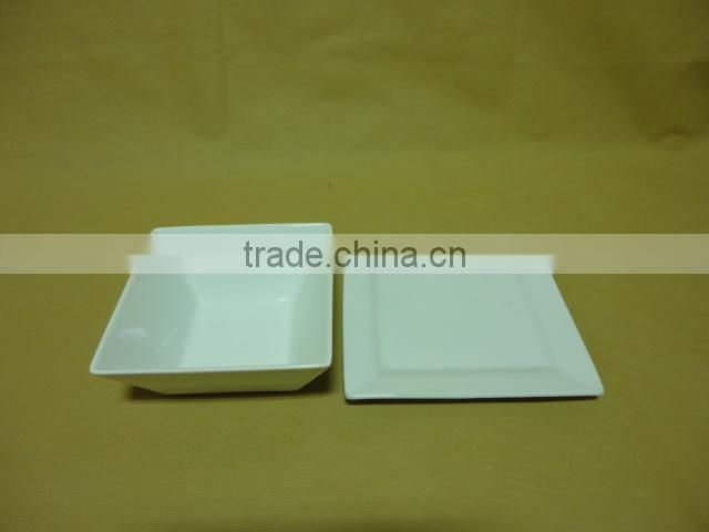 wholesale China Cheap stocked white porcelain ceramic soup bowl with dish