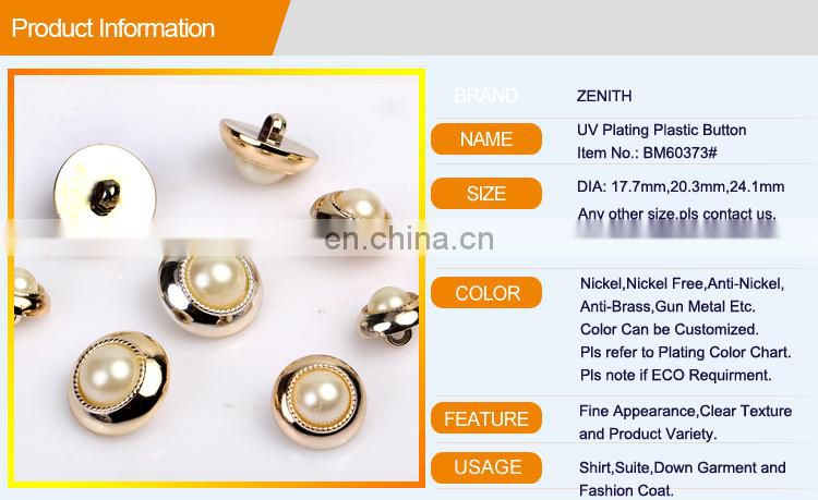 UV Plating ABS Plastic Resin Garment Button BA60373