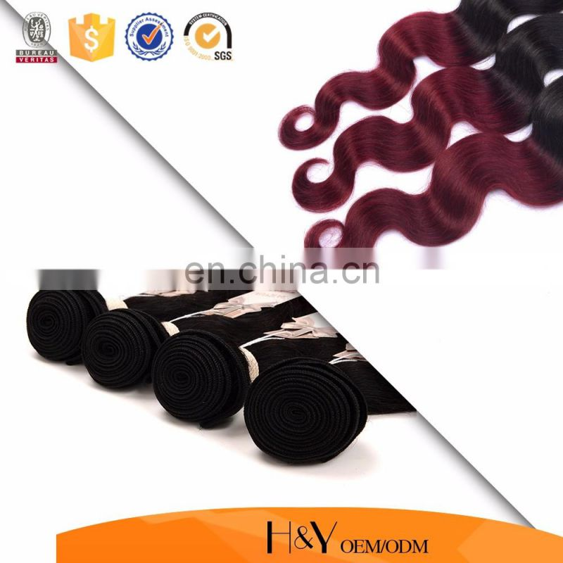cheap prcie indian remy hair body wave ombre color 1B/99J factory wholesale online
