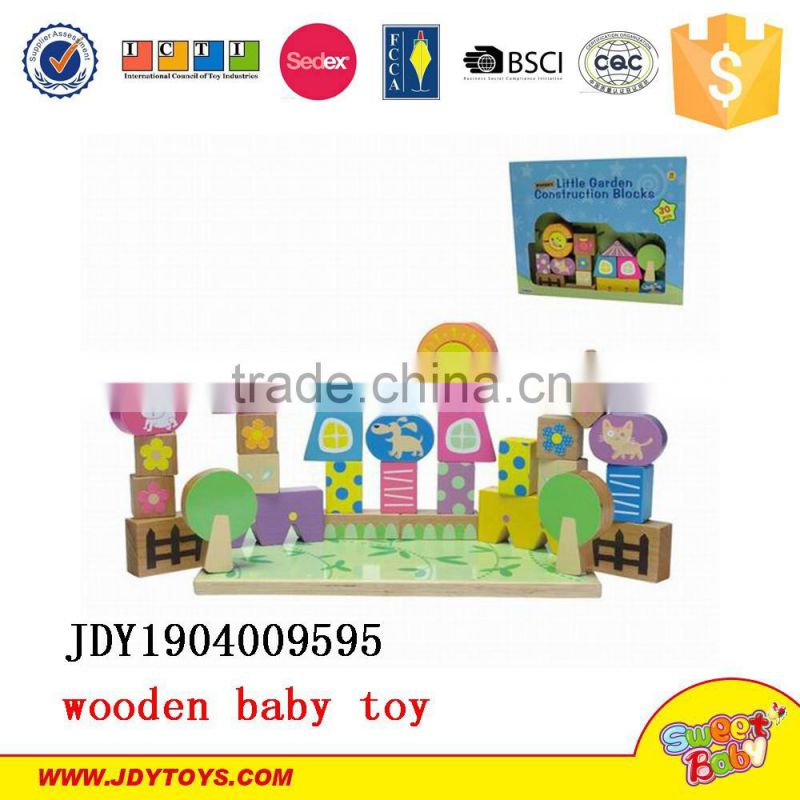 2015 new children wooden toys little garden construction block educational wooden toys