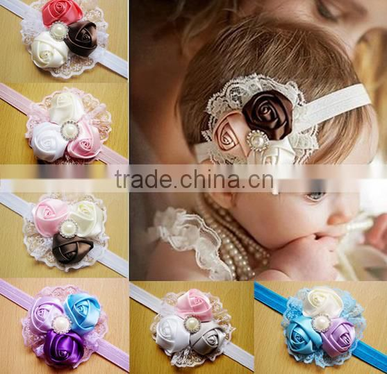 2014 New Girls Lace Headband Baby Chiffon Flower Headband Infant Hair Weave band Baby Hair Accessories