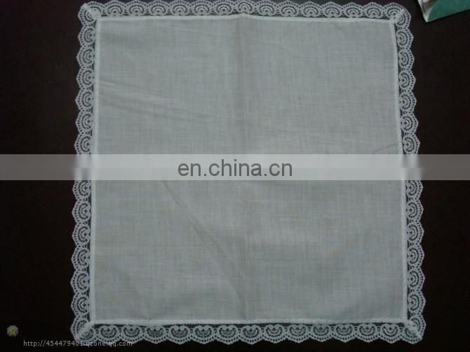 100% Cotton Material and Woven Technics white lace handkerchief