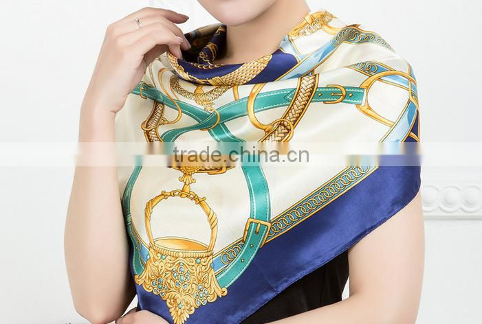 High quality women digital printed Silk satin square Scarf