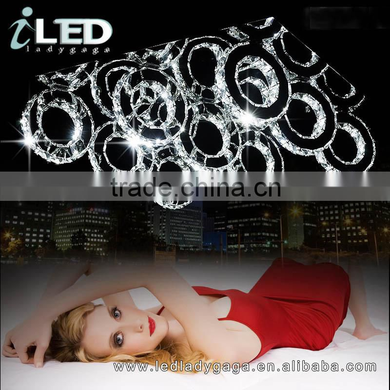 2015 New Design Romantic Modern Fashion Chandelier Metal Ring Hotel and home decoration Round LED Light K9 Chandelier Metal Ring