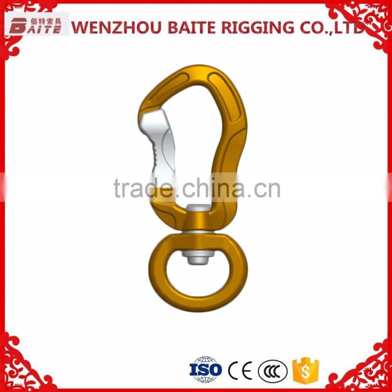 Outdoor Carabiner With Snap Hook With O Ring ,Golden Aluminum Snap Hook,Breakign load 500kg For Luggage Bag