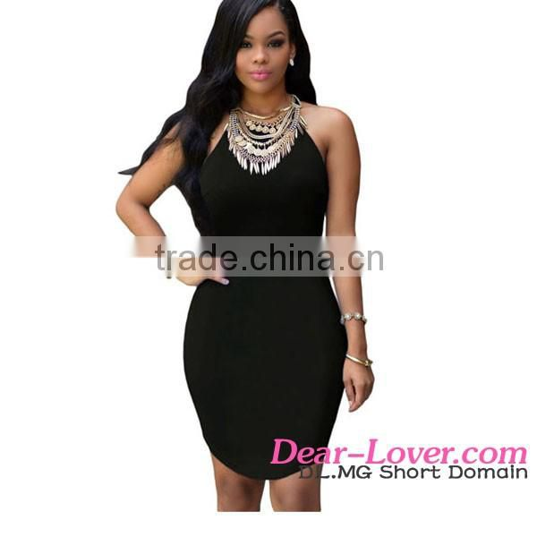 Accept Paypal 2016 Latest Ladies Black Strap Back Hollow Out Sexy Short Mini Dress