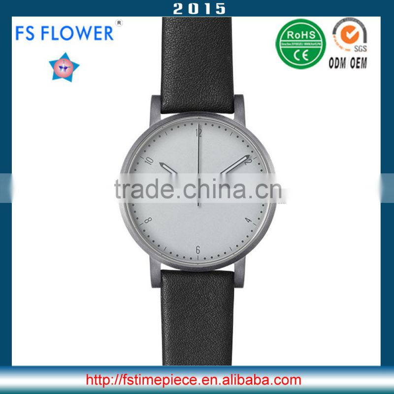 FS FLOWER - Youth Watch Fashion Stainless Steel Watch Case White Dial Genuine Leather Band