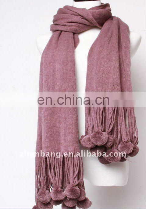 2015 Fashion Solid Colors Knitted Wool Winter Shawl with Pompons