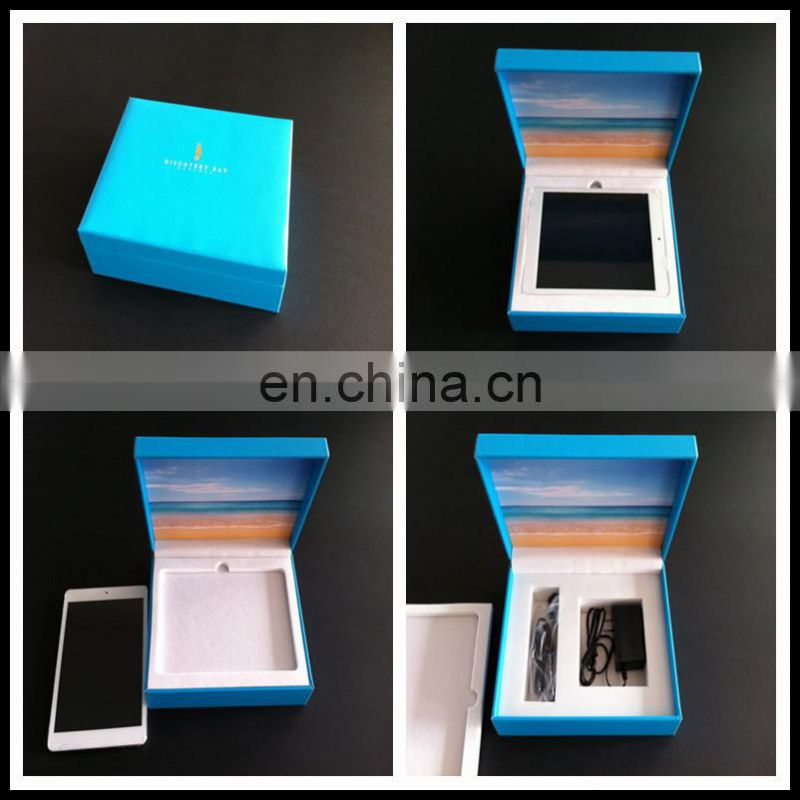 Hot sale hight quality custom gold logo blue wooden packaging box