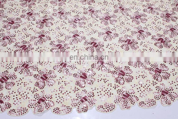African organza embroidered sequin fabric lace embroidered fabric