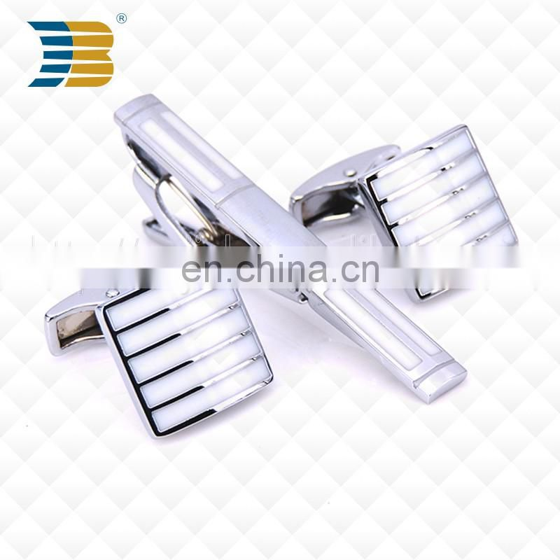 Good Quality Men's White Stripes Custom Metal Cufflinks and Tie Clips