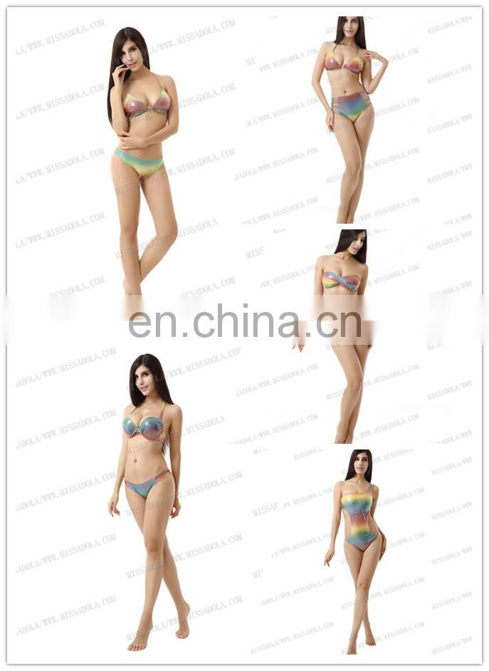 Miss Adola OEM Printed Strappy Beautiful Bikinis Women Bathing Suit With Zipper Sexy Neoprene Rubber Discount swimwear (N15-1)