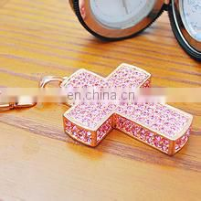 custom pink Cross shaped keychain