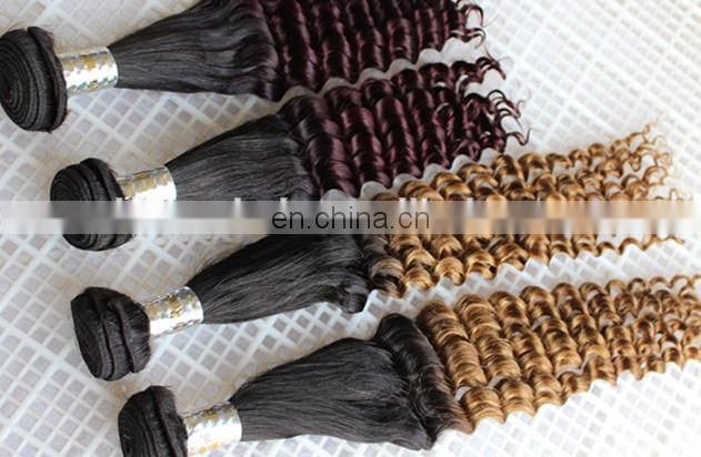 unprocessed wholesale virgin brazilian curly hair extension blonde deep wave hair weft