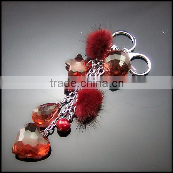 New design Korean keychain of beads hot selling birthday present love heart key chain BAC-150