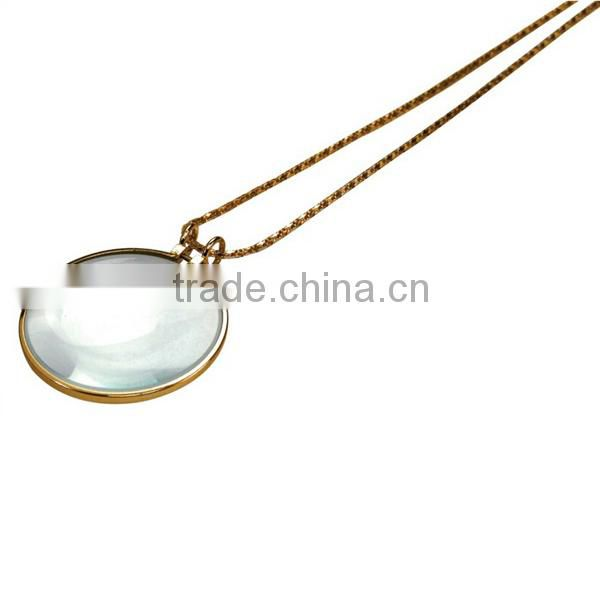 "Amber/antique Style Magnifying Pendant Lens-3x Magnifier Necklace W/30"" Matching Chain"