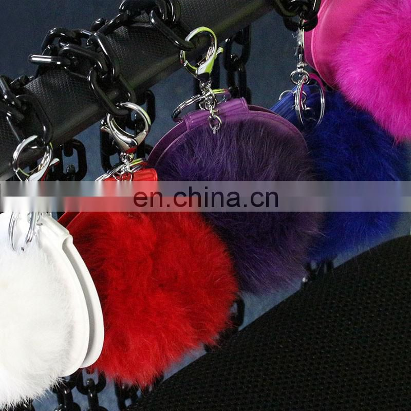 Cute small fur ball mirror key rings fur accessory for garment decoration