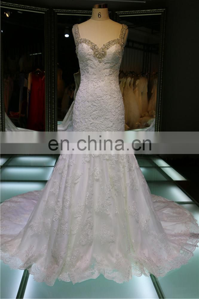 1A251JL 2016 new arrivals mermaid lace appliqued wedding dress with beaded neckline wedding dress