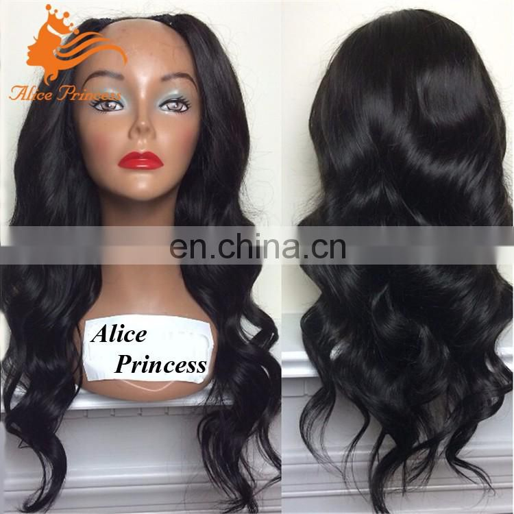 Cheap U part Wig Body Wave Remy Human Hair Wig With Middle U Shape Virgin Peruvian Hair U part Wigs For Sale