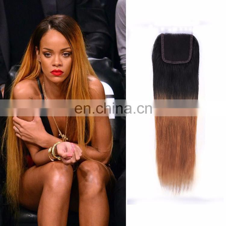 Free Side Part Brazilian Hair Silky Straight Closure Blonde Ombre Two Tone Color 1BT30 Lace Clousre