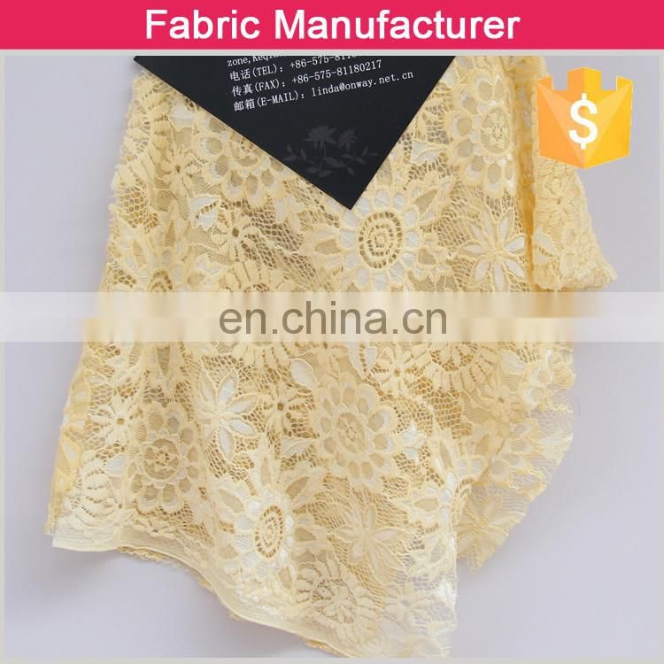 2015 new style CC-L6217 fashion poly/spandex solid lace fabric for girls