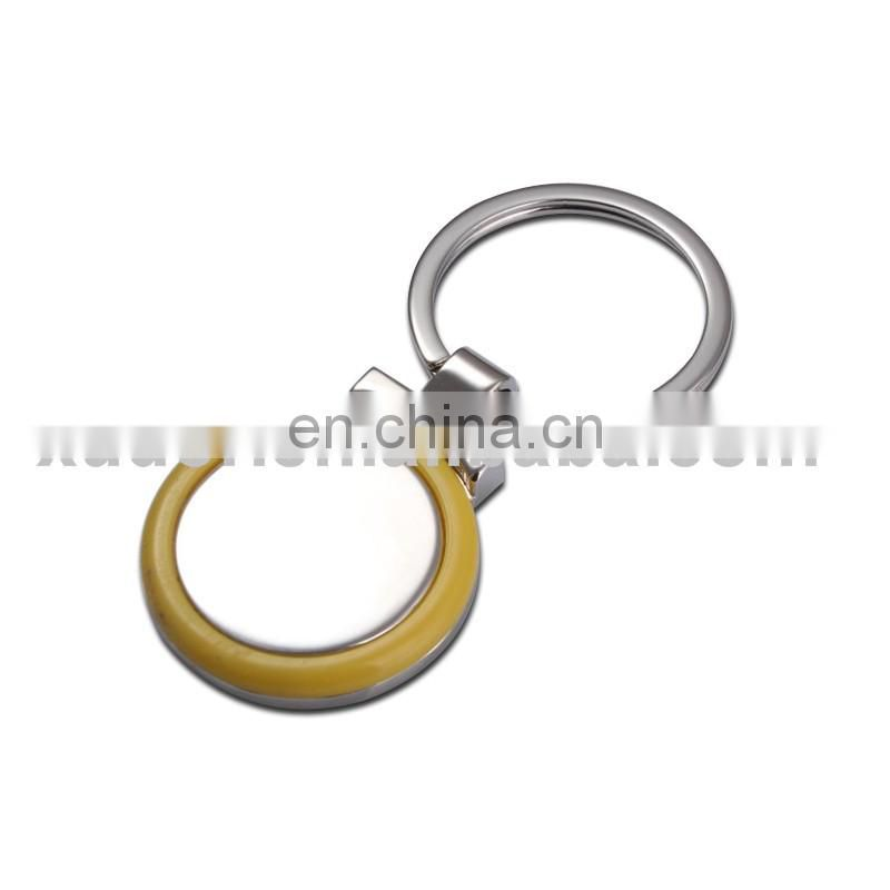 Custom round metal keychain covered rubber