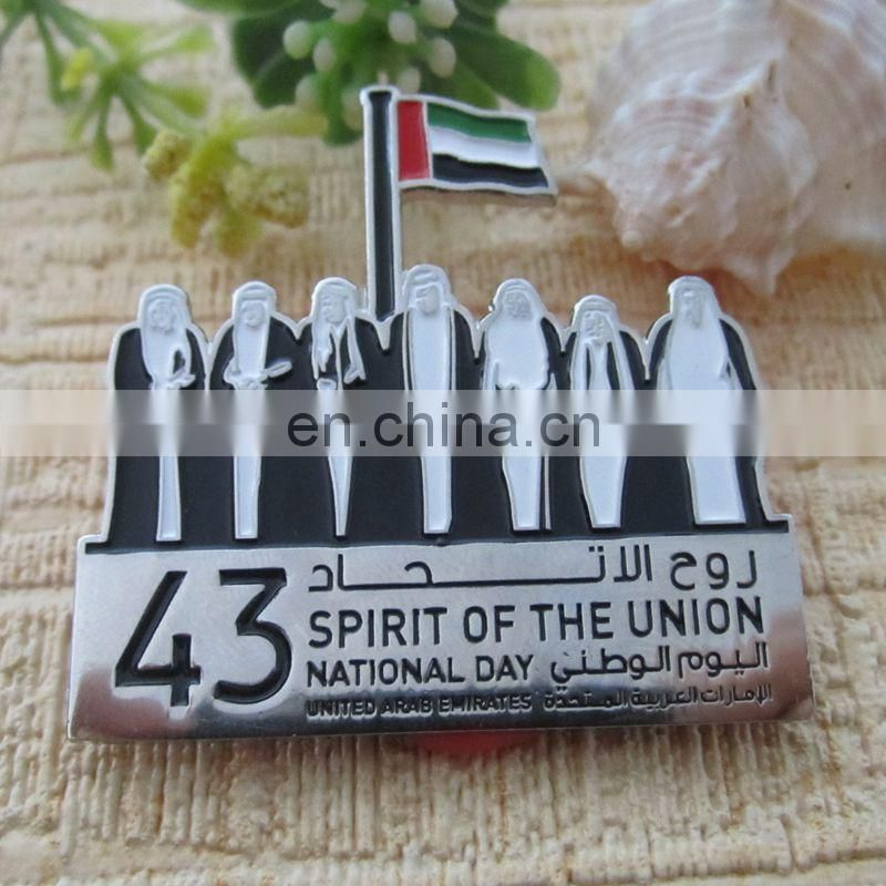Personalized UAE die cast gold plating souvenir magnetic epoxy badge metal crafts label pins