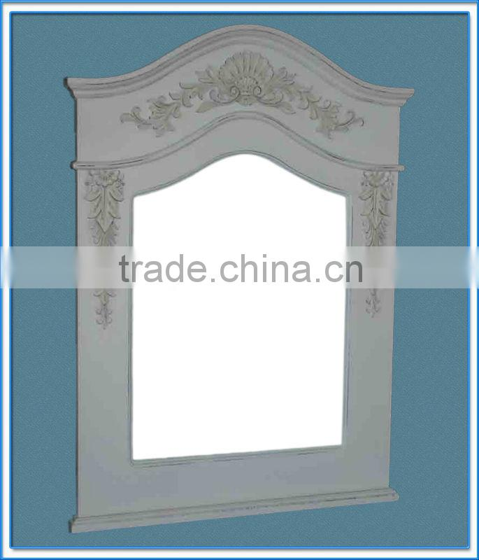 white color wooden framed mirror with decorative flowers / wooden wall mirror / wooden decorative mirror
