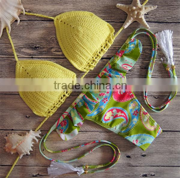 2016 Women Summer Bikini Sexy Crochet Bikini Swimwear Knitted Swimsuit