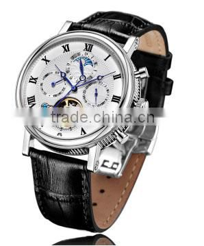 FS FLOWER - High-Quality Stainless Steel Case Leather Strap Chinese Mechanical Movement Cheap Price