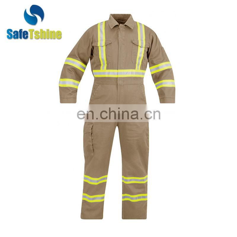 Made in China Flame retardant cotton work modacrylic reflective tape coverall