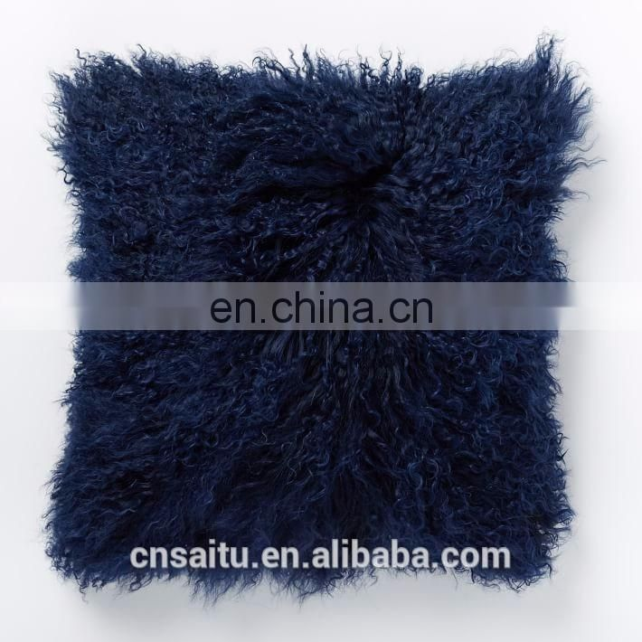 MONGOLIAN TIBETAN BLACK LAMBSKIN SHEEPSKIN FUR CUSHION PILLOW COVER