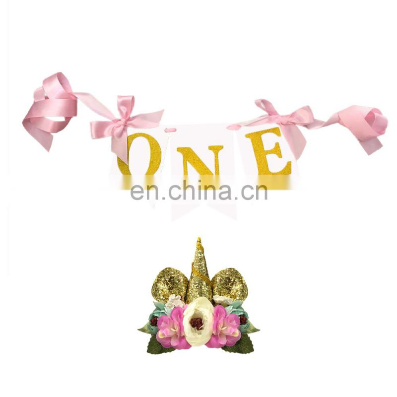 Unicorn birthday party favor unicorn headband and 1st brithday party banner kits