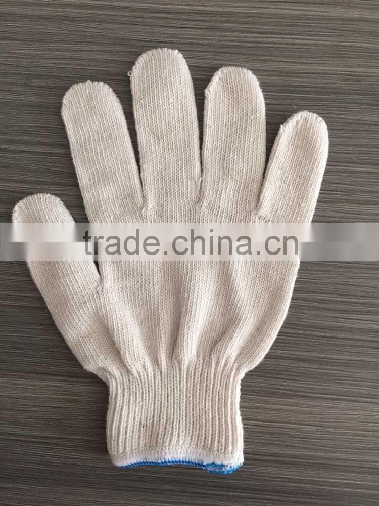 cotton gloves with high quality bleach white cotton gloves safety cotton white work gloves