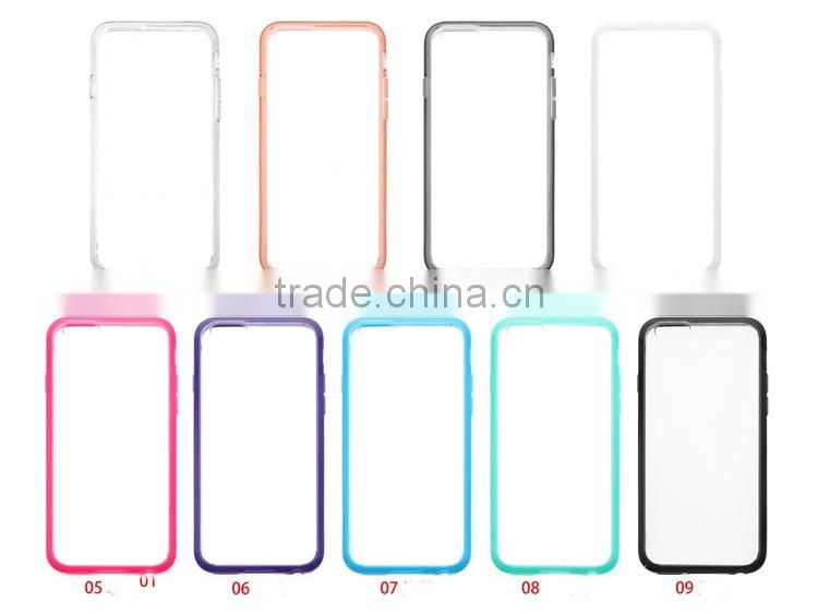 For iPhone 6 Slim Transparent Crystal Clear TPU PC Hard Back Phone Case Cover