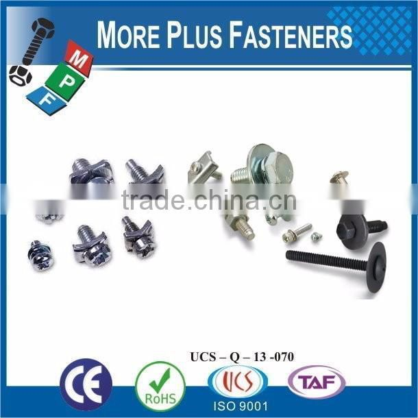 Taiwan JIS B1187 M3 M12 M3-0.5 x 6mm Phillips Pan Head Zinc Finish Steel Square Conical Washer SEMS Machine Screw