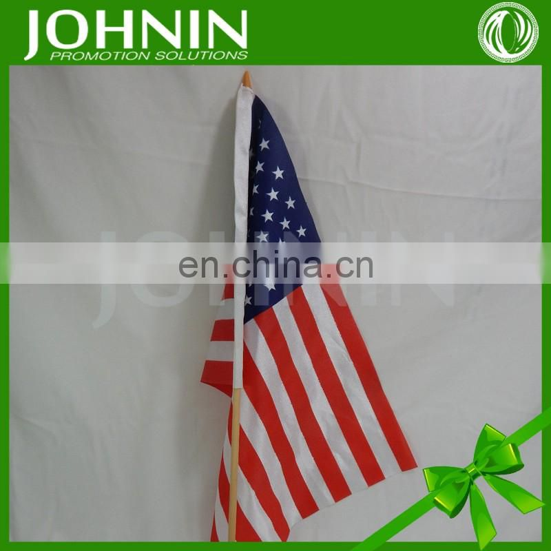 2016 wholesale polyester printed 8x12 inch us hand held stick flags