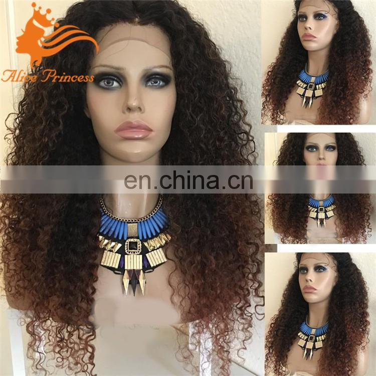 Ombre Full Lace Human Hair Wigs 130Density Glueless Virgin Brazilian Kinky Curly Remy Hair Lace Front Wig Two Tone Wigs