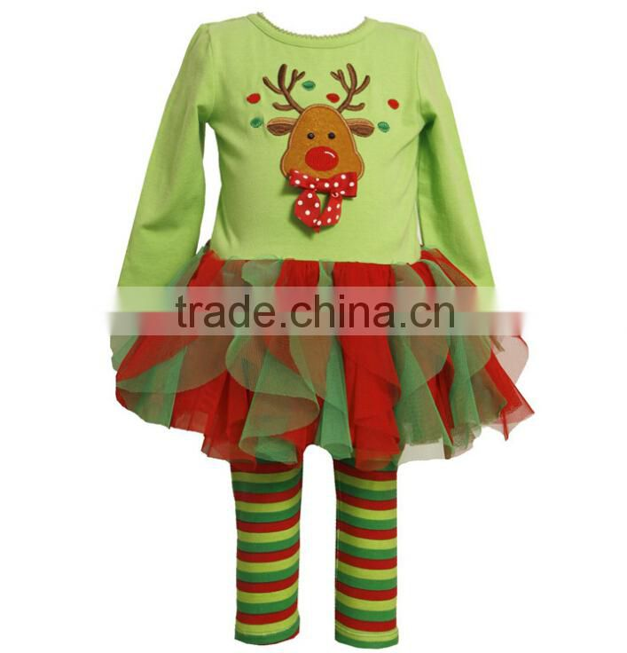 Whosale girl boutique outfits kids winter 2015 christmas clothing sets girls dress top and ruffle pant set