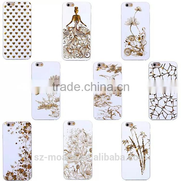 Unique tpu phone case 3D gold stamping Case for iphone 6 6plus