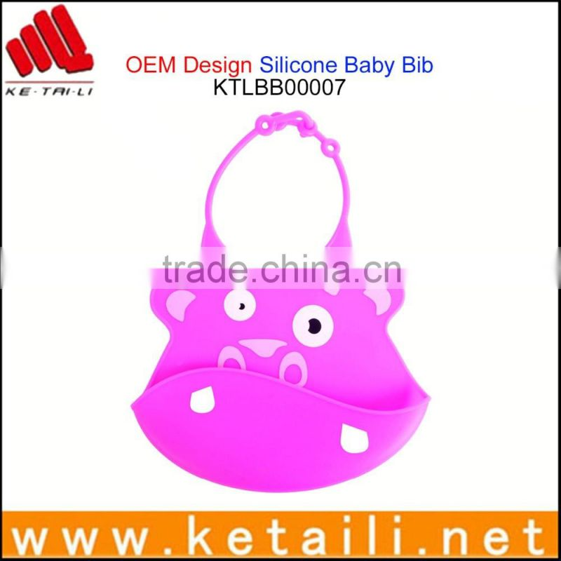 Promotion Gift 100% Silicone Non-toxic Silicone Baby Bib, Print Waterproof Fabric for Baby Bib