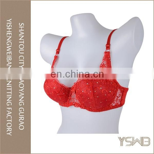 Custom made latest lady red hot sexy embroidery bra lace