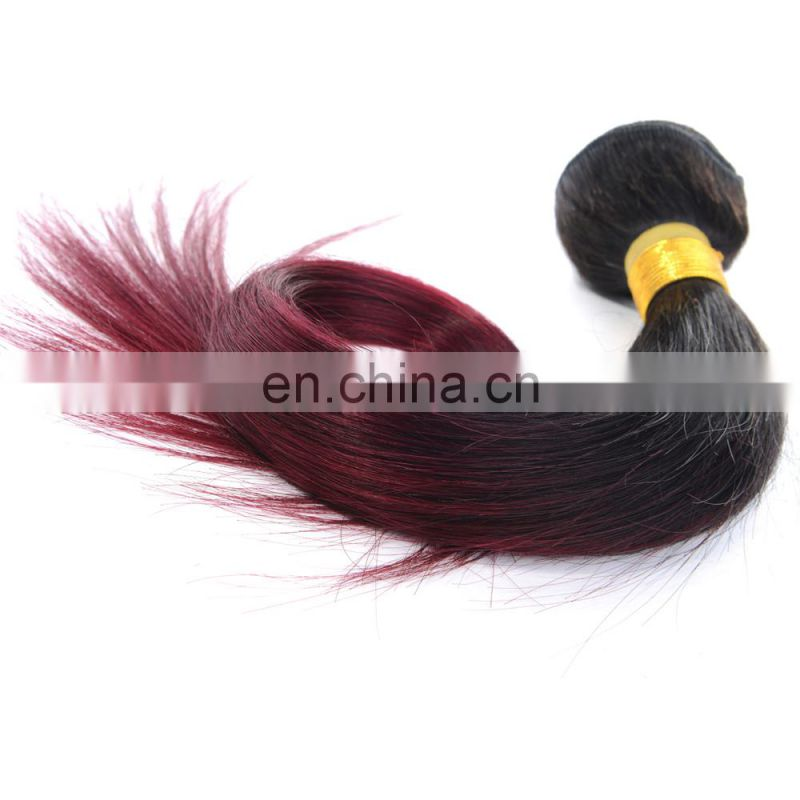 hot sale silky straight human hair extension ombre color 1b/99J remy weave