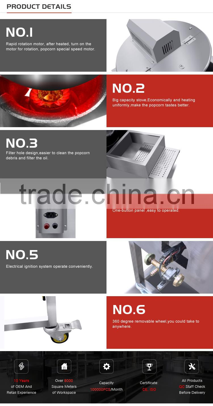 Chuangyu Hot Selling Products Commercial Automatic Gas Popcorn Machine With Stainless Steel