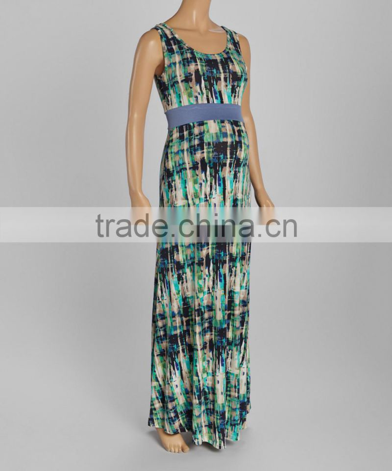 New Fashionable Maternity Dresses With Green And Blue Abstract Maternity Maxi Dress Sleeveless Women Clothing WD80817-24