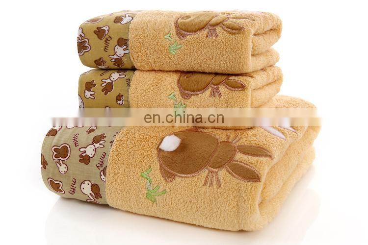wholesale 100% cotton untwisted towel set with rabbits cartoon face towel and bath towel 805g