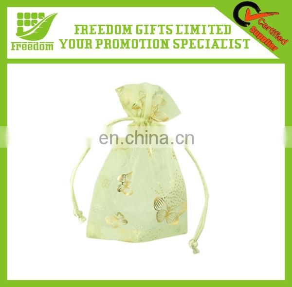 High Quaity Fashionable Personalized Drawstring Organza Gift Bags With Logo Ribbon