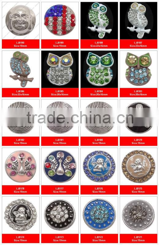 CJ2065 New design click snap button bracelet,pendants snap on charms,flower pendants snap button necklace jewellery