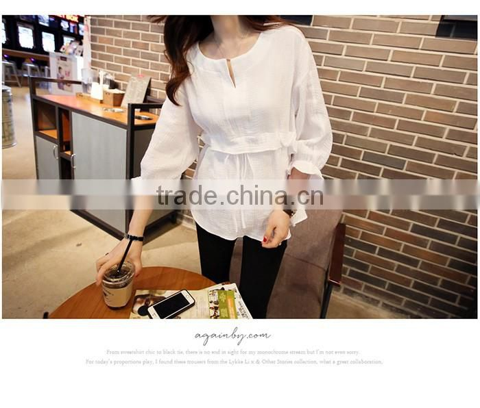 latest fashion Cotton and linen Rond collar shirt flounce shirt blouse for women